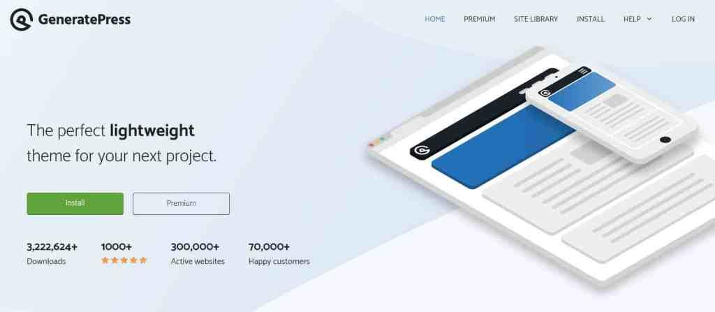 GeneratePress - free WP blog theme for  websites