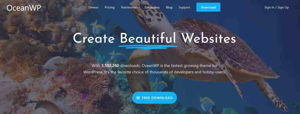 OceanWP -SEO optimized and fast loading websites.