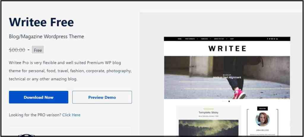 Writee - Free theme for blog writers