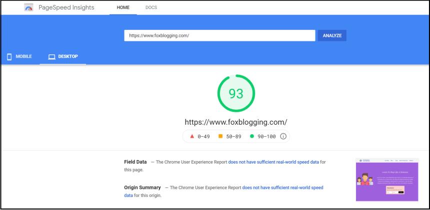 Google page speed test for Hostinger hosting