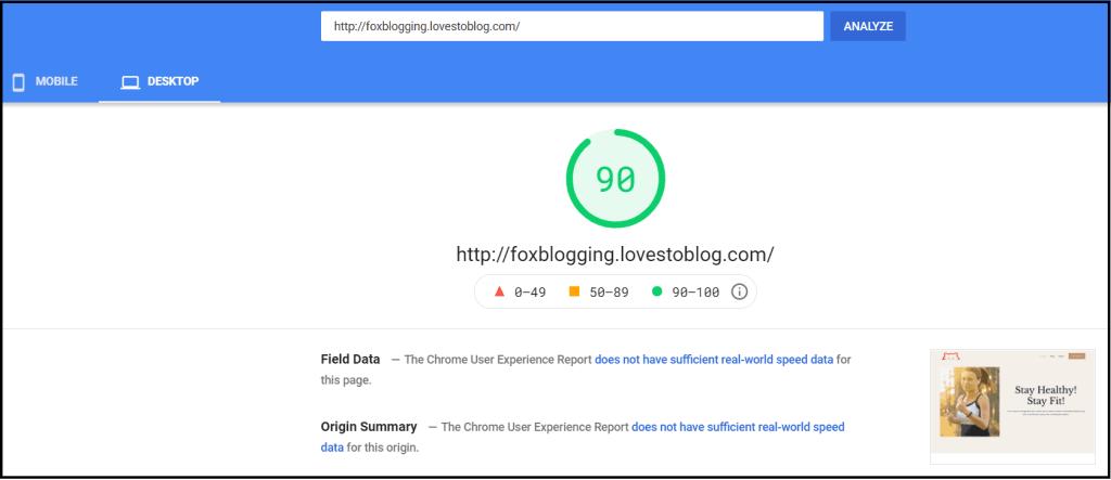 InfinityFree Hosting - Google page speed test
