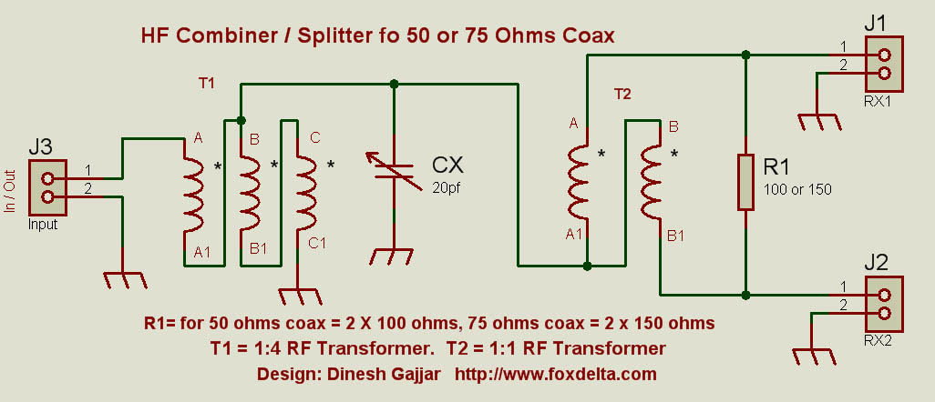 Hf Signal Combiner Splitter For 50 Or 75 Ohms Coax