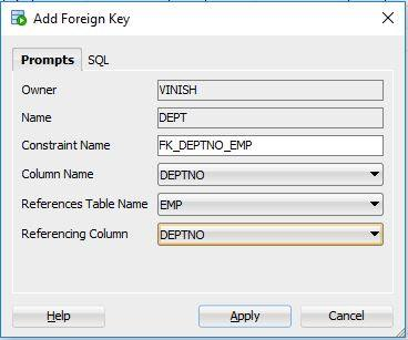 create foreign key in Oracle SQL Developer