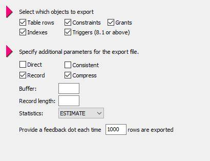 Specify objects to export using Toad for Oracle