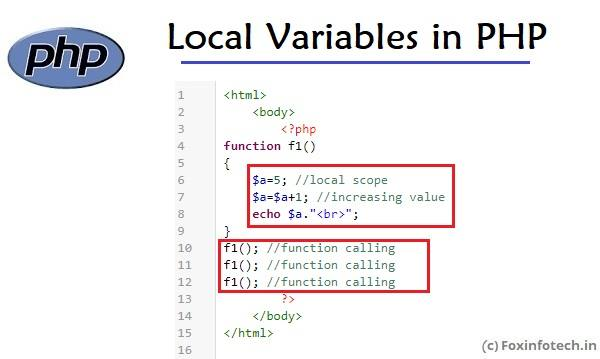 Local variable tutorial in PHP.