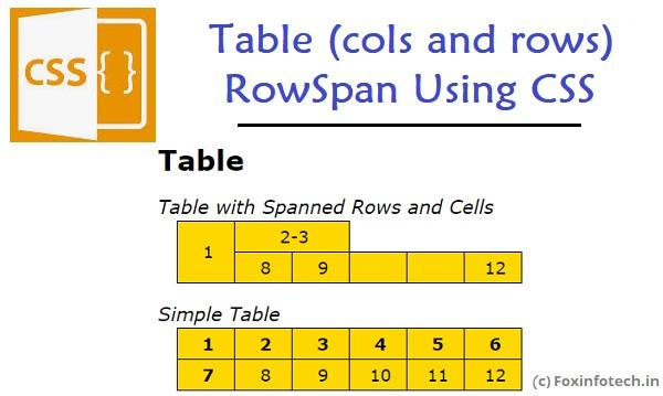 Table rowspan using CSS example.