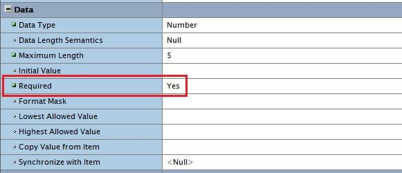 Set a field mandatory in Oracle Forms.