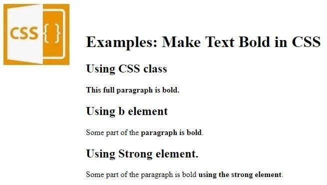 Make text bold using CSS.