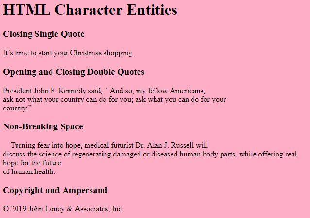 HTML Character Entities.