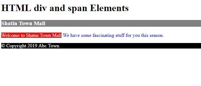 HTML div and span elements.