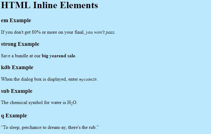 HTML Inline Elements Example