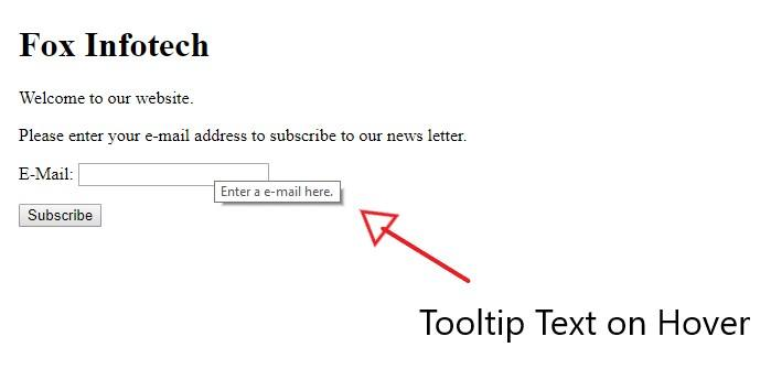 HTML Tooltip example.