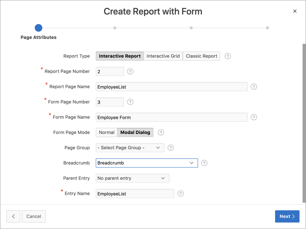 Oracle Apex - Report and Form properties