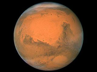 Mars during its most recent closest approach to Earth in December 2007. (NASA)