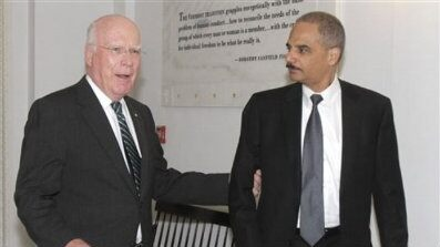 Attorney General Eric Holder, right, is shown with Sen. Patrick Leahy in Montpelier, Vt., Sept. 10. (AP Photo)