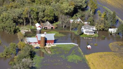 Sept. 26: Flood waters surrounding a farm near Renner, S.D., are shown in this aerial photograph.