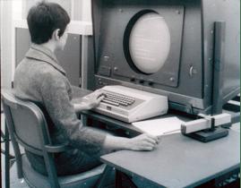 Estação de trabalho do sistema NLS, em 1968