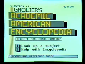 Interface da Groelier´s Academic American Encyclopedia, uma enciclopédia digital disponível em CD-Rom.