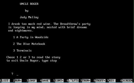 Interface da narrativa hipertextual Uncle Roger, da poetisa Judy Malloy, criado em 1987. O leitor pode fazer uma leitura não-linear a partir das escolhas permitidas pela programação.