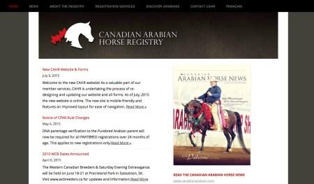 New website design for the Canadian Arabian Horse Registry.