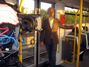 Sir Ian McKellen filming on the trams in Manchester