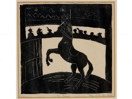 Unseen Linocut by HM The Queen