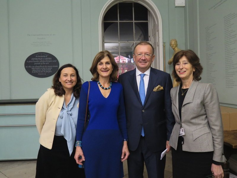 Natasha Murray lecturer Courtauld Institute of Art, Margy Kinmonth, HE Alexander Yakovenko Ambassador of the Russian Federation, Deborah Swallow, director the Courtauld.