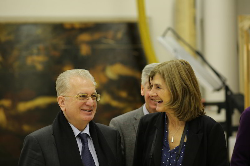 Prof. Mikhail Piotrovsky with director Margy Kinmonth during the filming of Hermitage Revealed