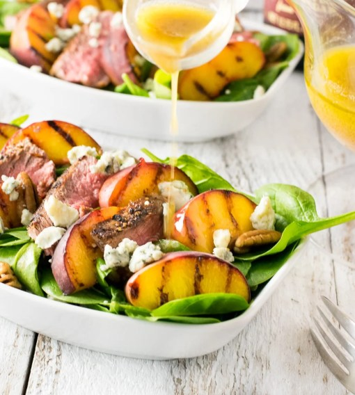 Grilled Steak and Peach Salad with Pecans and Blue Cheese