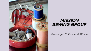 an open basket of sewing notions such as scissors and buttons next to a couple of spools of thread