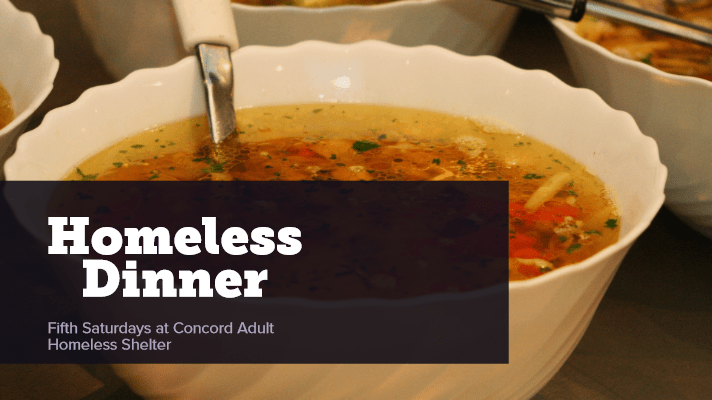"bowls of soup with text that reads ""Homeless Dinner"""