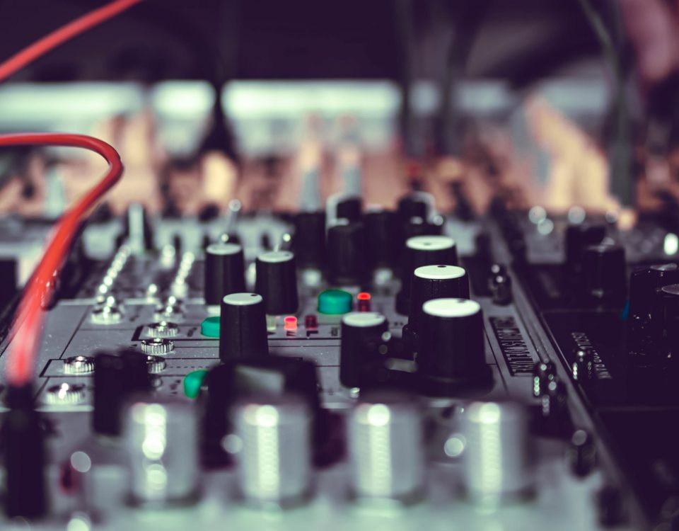 a sound mixing board