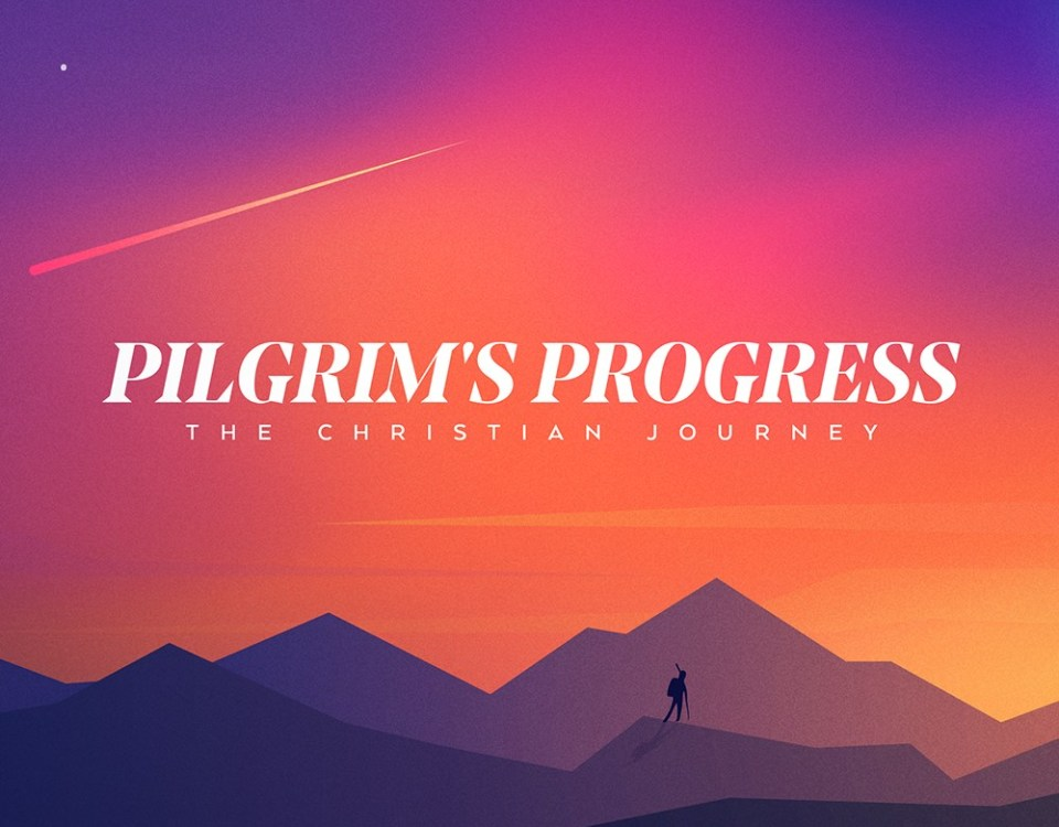 "a shooting star through sunset clouds over a craggy mountain range with a loan hiker in silhouette walking a ridge with the text ""Pilgrim's Progress: The Christian Journey"""