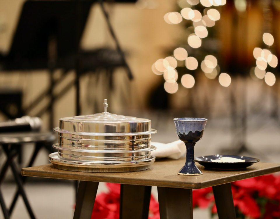 a table set with communion elements