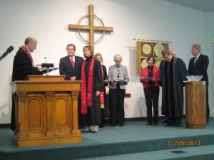 Pastor Ginger receives her charge