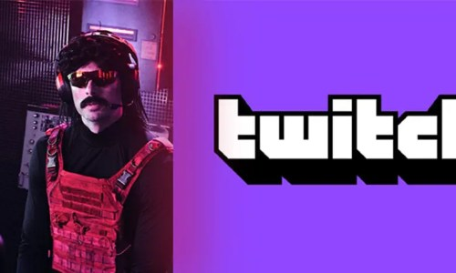 Photo of man called Dr DisRespect wearing a bulletproof vest with Twitch logo next to him
