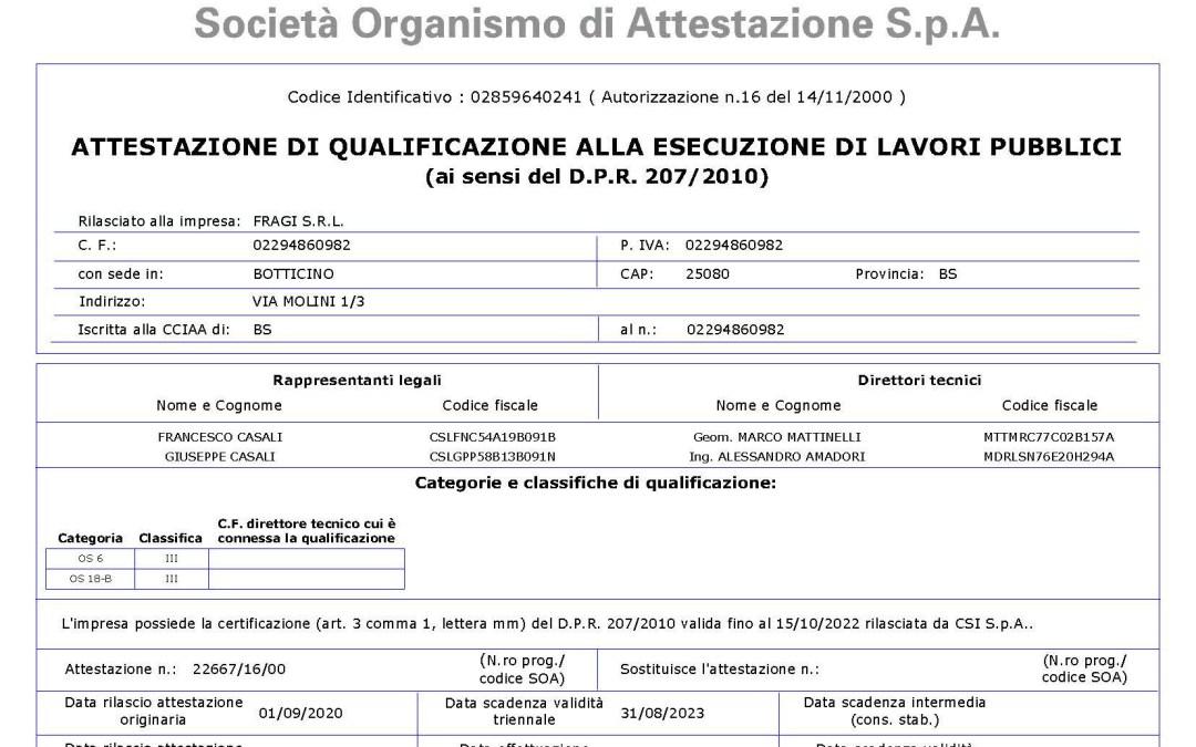 Attestazione SOA OS 18-B
