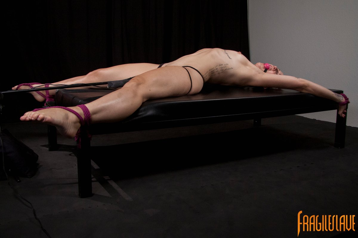 Restrained spread eagle shaved