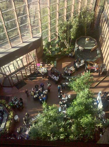 A few book tables from 5 stories up: Omni Charlottesville