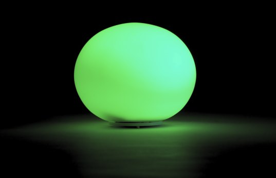 The Ambient Orb glows red or green, depending on energy use.