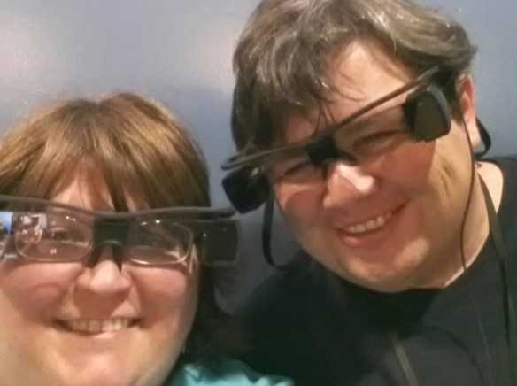 Testing out closed-caption glasses at the Manassas multiplex