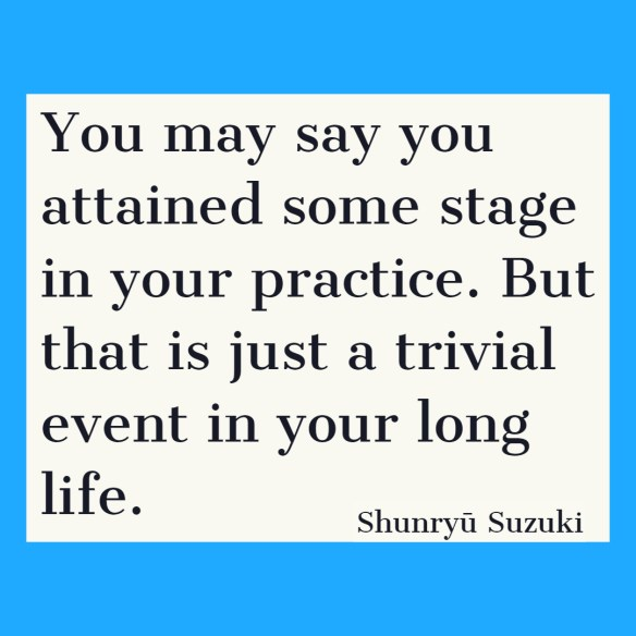 You may say you attained some stage in your practice. But that is just a trivial event in your long life