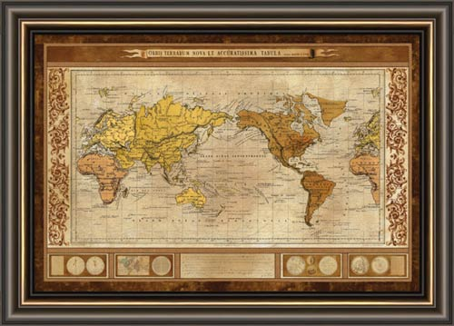World Map Brown Framed Canvas Art