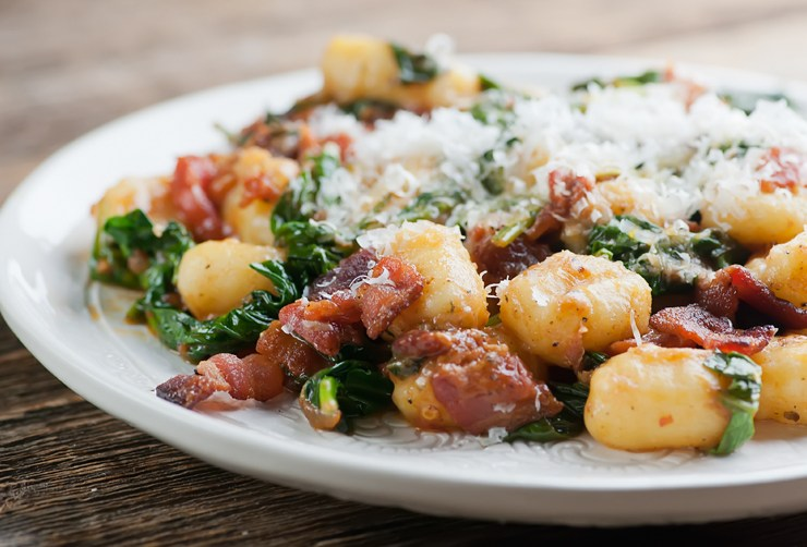 Gnocchi with Bacon and Spinach