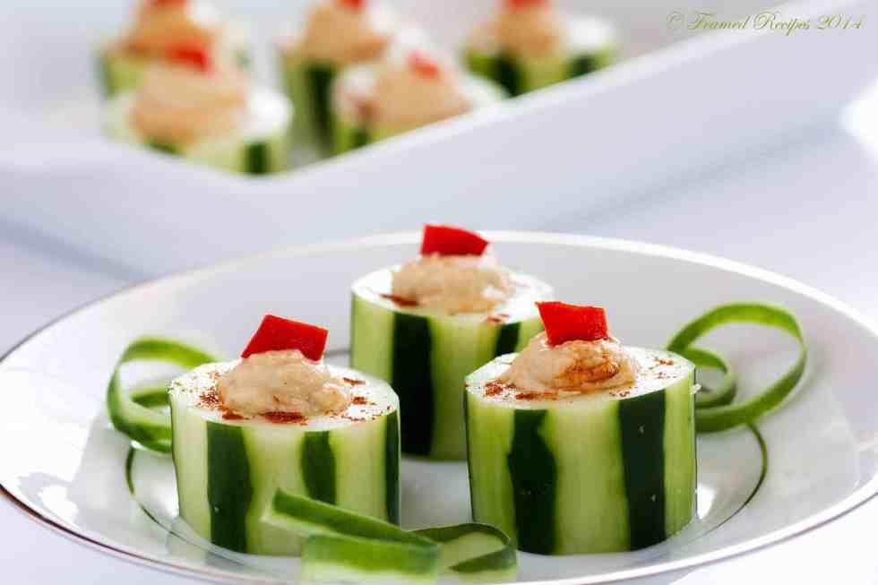 Hummus Filled Cucumber Cups
