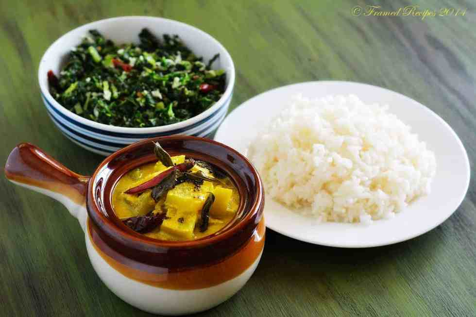 moru curry with chayote squash served with rice and kale thoran