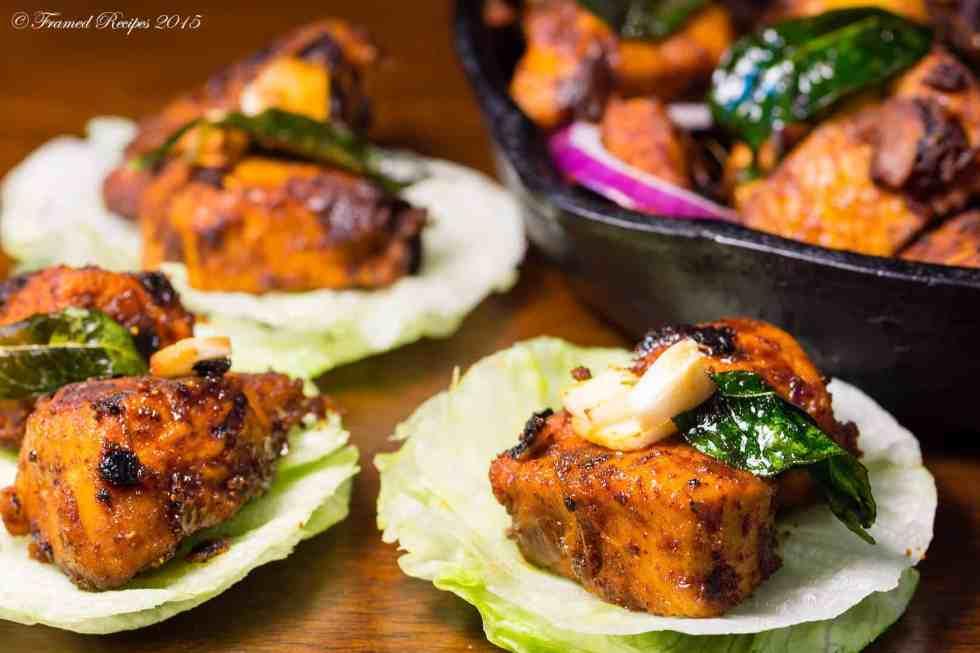 serve chicken fry in lettuce wraps