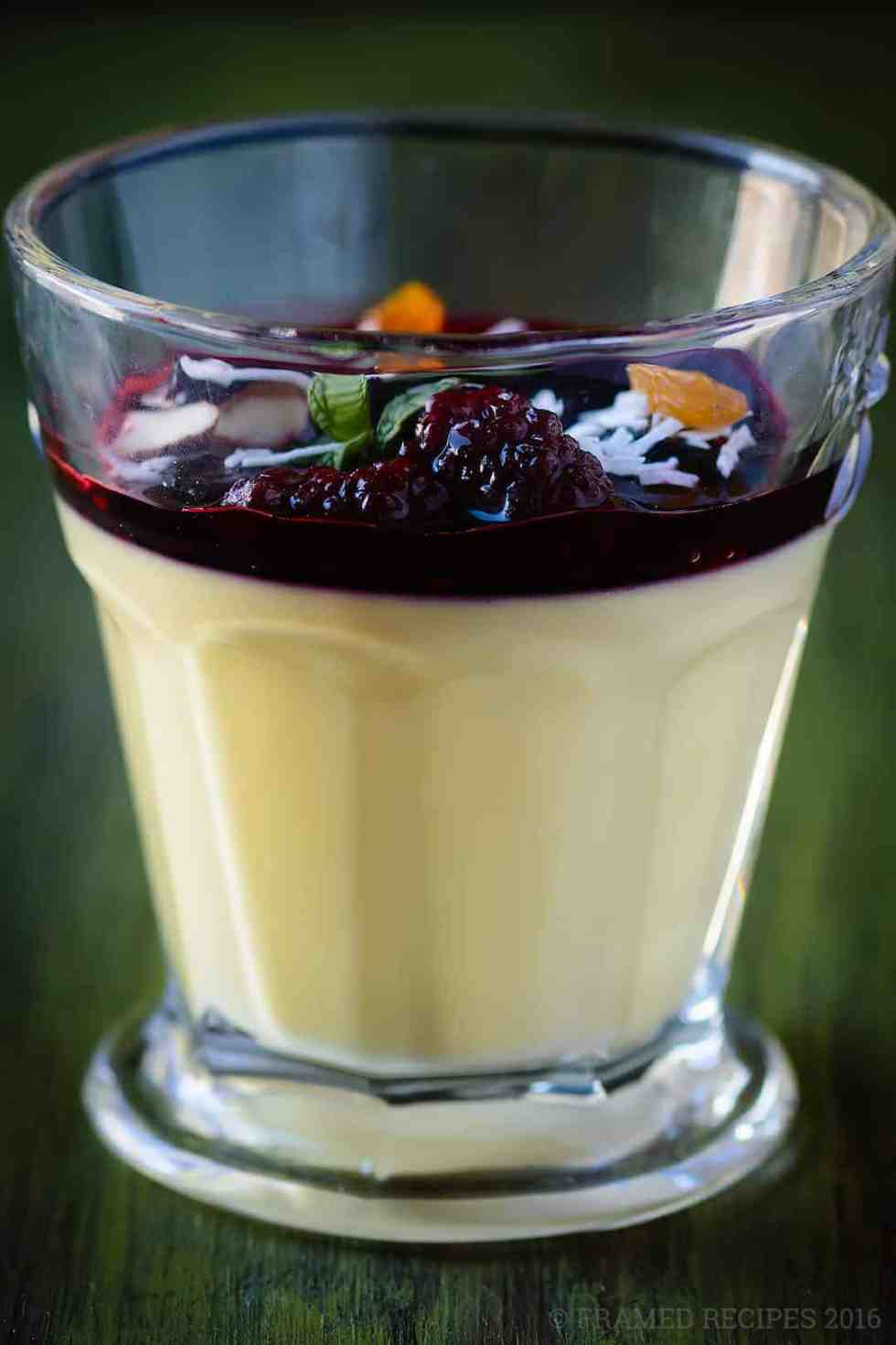 Rose and Saffron Panna Cotta with Berry Compote