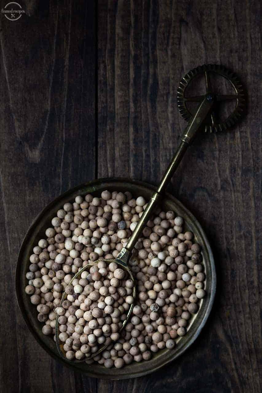 white peppercorns.