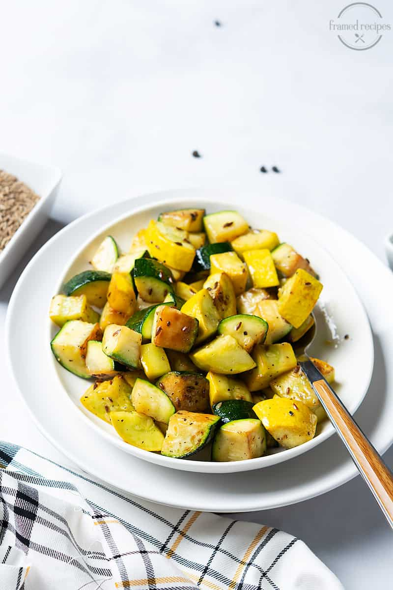 a plateful of pan roasted zucchini and yellow squash
